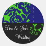 Spring Wedding Black & Blue Sticker Sticker