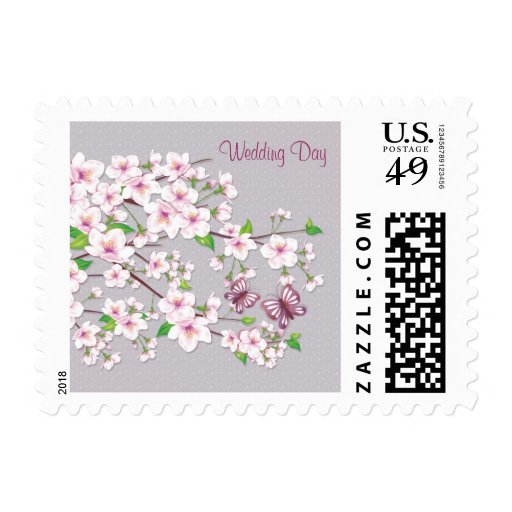 Spring Wedding, Cherry blossom and butterfly Posta Stamp