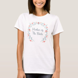 Spring Wedding Floral wreath in teal and coral T-Shirt