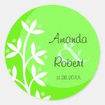 Spring Wedding Green Floral Round Stickers