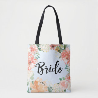 Spring Wedding Peach Watercolor Floral Brides Tote Bag