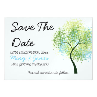 "Spring Wedding Swirly Tree ""Save The Date"" Card"