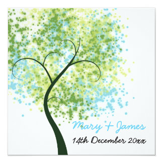 "Spring Wedding Swirly Tree ""Save The Date"" Card"