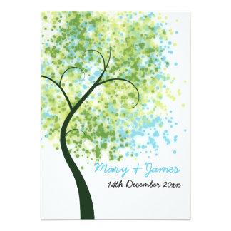 "Spring Wedding Swirly Tree ""Save The Date"" 5x7 Paper Invitation Card"