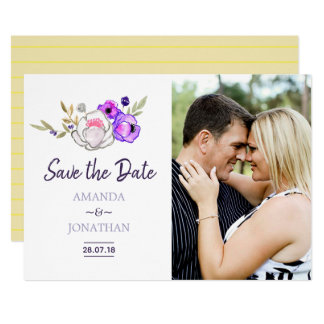 Spring Wedding watercolor floral Save the Date Card