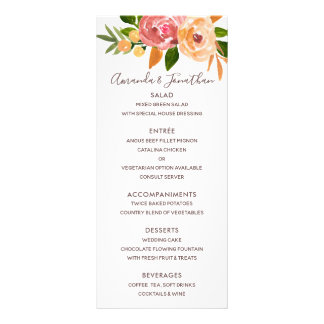 Spring Wedding watercolor flowers Menu