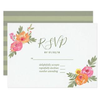 Spring Wedding watercolor flowers RSVP Card