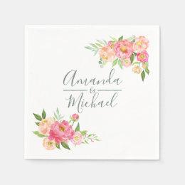 Spring Wedding watercolor Peonies Paper Napkin