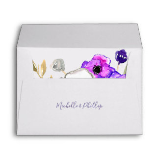 Spring Wedding watercolor wildflowers personalized Envelope