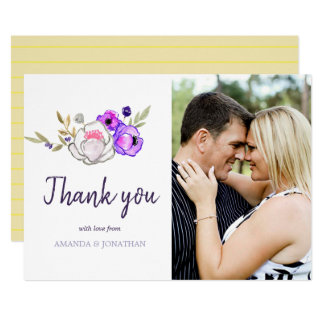 Spring Wedding watercolor wildflowers Thank You Card