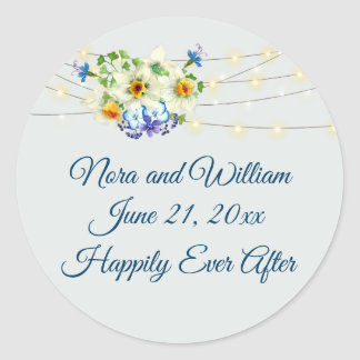 Spring  Wedding with Easter Jonquils Classic Round Sticker