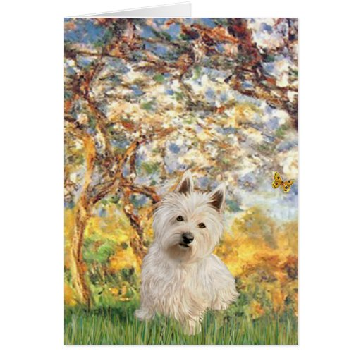 Spring - Westie 1 Greeting Cards