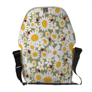 Spring White Daisies Flowers Ladybugs Nature Bag