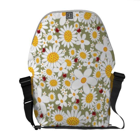Spring White Daisies Flowers Ladybugs Nature Bag