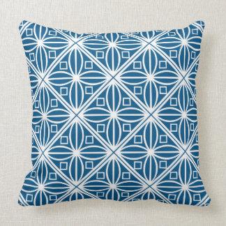 Spring white diamond pattern on deep blue throw pillow