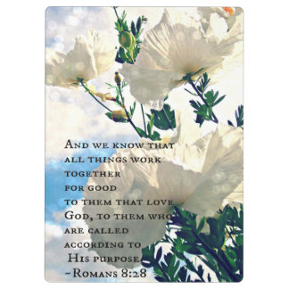 Spring White Flower Romans 8:28 Clip-board Clipboard