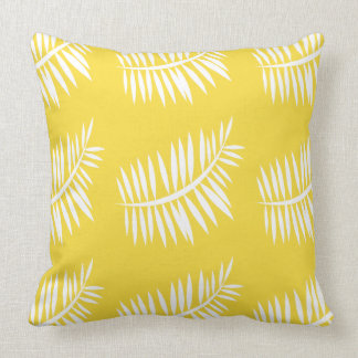 Spring white leaf pattern on buttercup yellow throw pillow