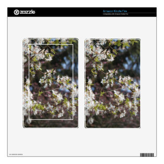 Spring white plum flowers, floral photography. skin for kindle fire