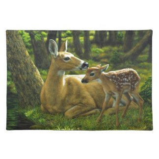 Spring Whitetail Doe and Fawn Cloth Placemat