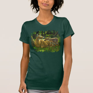 Spring Whitetail Doe and Fawn T-shirt