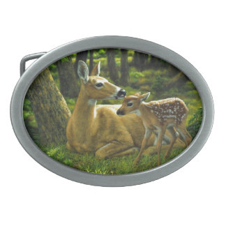 Spring Whitetail Fawn and Mother Deer Belt Buckle