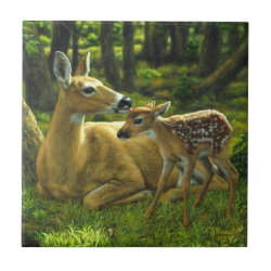 Spring Whitetail Fawn and Mother Deer Ceramic Tile