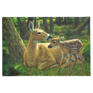 Spring Whitetail Fawn and Mother Deer Doormat