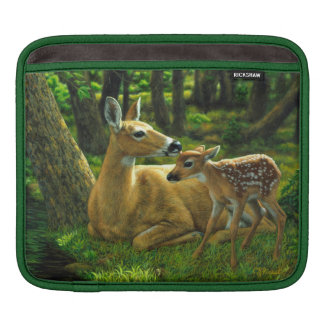 Spring Whitetail Fawn and Mother Deer iPad Sleeve