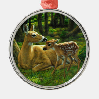 Spring Whitetail Fawn and Mother Deer Metal Ornament
