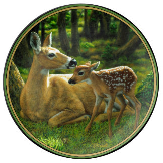 Spring Whitetail Fawn and Mother Deer Porcelain Plate