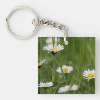 Spring Wild Daisies Single-Sided Square Acrylic Keychain