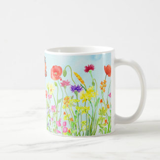 spring wild flowers and butterflies watercolor mug