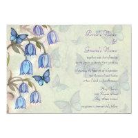 Spring Wildflowers and Blue Butterflies Wedding Card (<em>$2.11</em>)