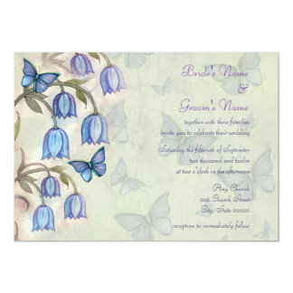 Spring Wildflowers and Blue Butterflies Wedding Card