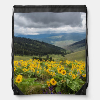 Spring Wildflowers In The Hills Drawstring Bag