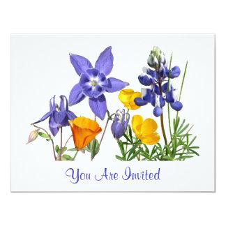 "Spring Wildflowers Invitation Customizable 4.25"" X 5.5"" Invitation Card"
