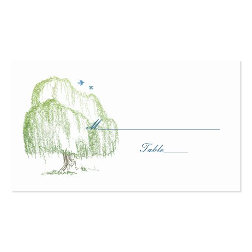 Spring Willow Tree Wedding Place or Escort Cards Business Card Template