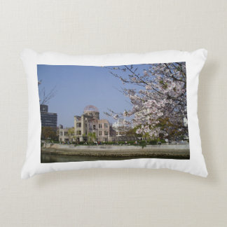 Spring with the atomic bomb dome of the Hiroshima Accent Pillow