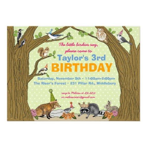 Spring Woodland Animal Party Invitation
