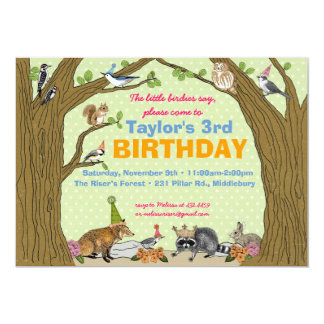 "Spring Woodland Animal Party Invitation 5"" X 7"" Invitation Card"