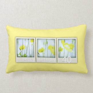 Spring Yellow Poppies 40th Birthday Pillow