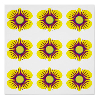 Spring yellow & purple flower in pattern on poster