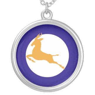 Springbok roundel round pendant necklace