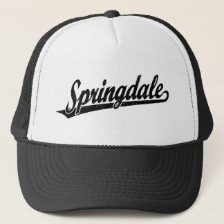 Springdale script logo in black distressed trucker hat