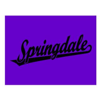 Springdale script logo in black postcard