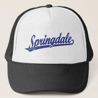 Springdale script logo in blue distressed trucker hat