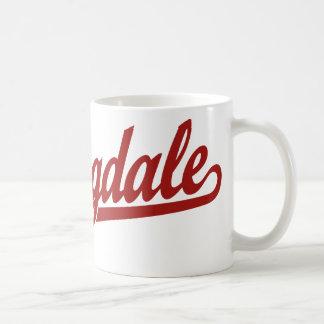 Springdale script logo in red coffee mug