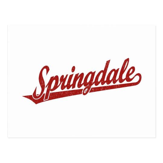 Springdale script logo in red distressed postcard