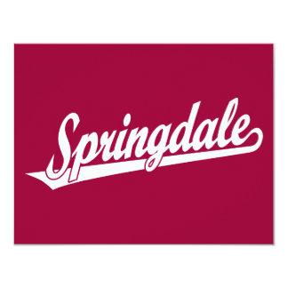Springdale script logo in white card