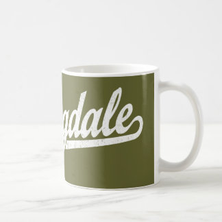 Springdale script logo in white distressed coffee mug